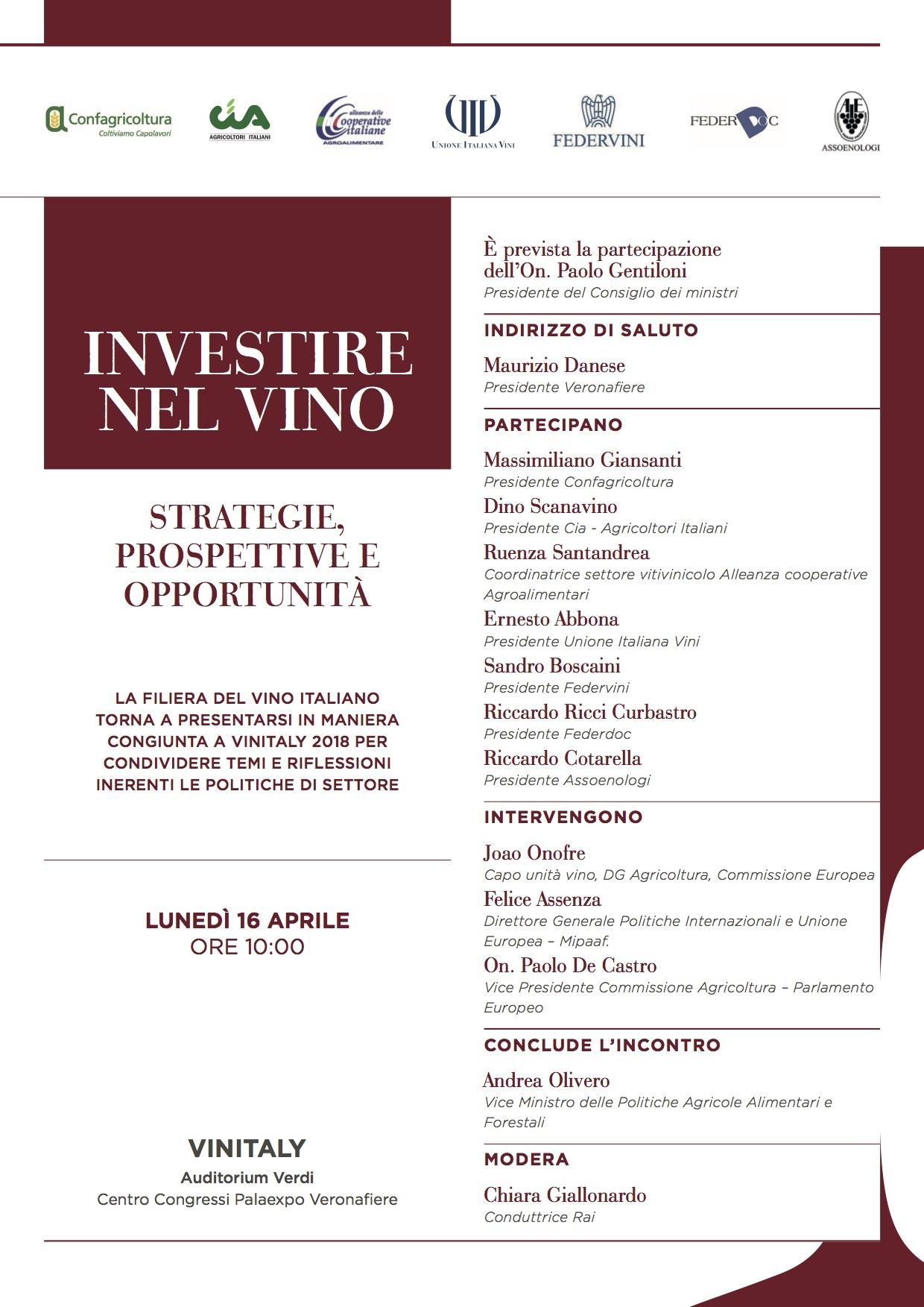 """Invito talk show - """"Investire nel vino"""""""