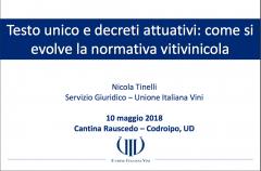 RELAZIONI CONVEGNO:  Le novità del Testo unico del vino 10/05/2018